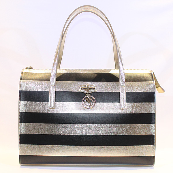 8b2ed37cd1d Versace Jeans - black and gold handbag W Stripes - Vissanti - Loja ...