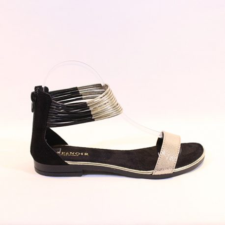 c0c356a6621 CAFE NOIR - black and gold ankle straps sandals - Vissanti - Loja ...
