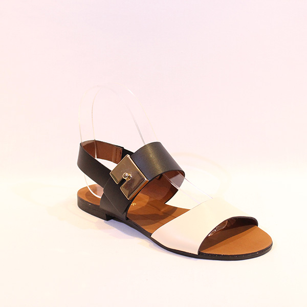 8c61cfaf3f1 CAFE NOIR - cream and black flat sandals - Vissanti - Loja Online de  Sapatos e Malas