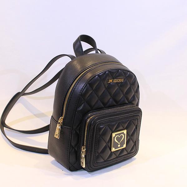 d7b7ac92029 LOVE MOSCHINO - Black quilted zip around Mini Backpack - Vissanti ...