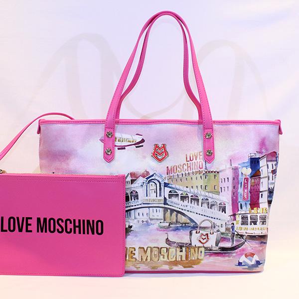 99fb3353635 LOVE MOSCHINO - Pink landscape bag - Vissanti - Loja Online de ...