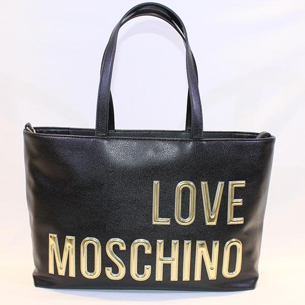 16dfa4e77231f LOVE MOSCHINO - Black shopping bag w golden letters - Vissanti ...