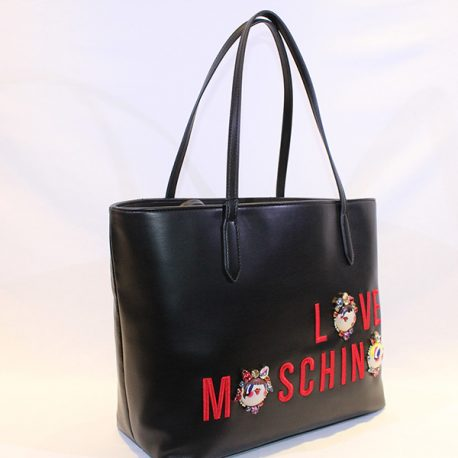 61413f032ef LOVE MOSCHINO - BLACK HANDBAG W FACES AND RED LETTERS - Vissanti ...